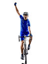 Cyclist cycling road bicycle celebrating silhouette one in silhouettes on white background Stock Photo