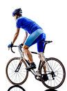 Cyclist cycling road bicycle rear view silhouette one in on white background Stock Photo