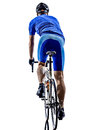 Cyclist cycling road bicycle rear view silhouette one in on white background Royalty Free Stock Photography