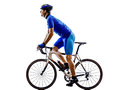 Cyclist cycling road bicycle silhouette one in on white background Stock Photos