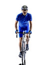 Cyclist cycling road bicycle silhouette one in on white background Stock Photo