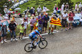 The cyclist david millar col de pailheres france july scottish from garmin sharp team climbing road to col de pailheres in Royalty Free Stock Photos
