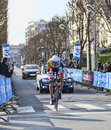 The cyclist de greef francis paris nice prologue in houill houilles france march rd belgian from lotto belisol team riding during Royalty Free Stock Image