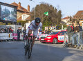 The cyclist denis menchov paris nice prologue in houilles france march rd russian from katusha team riding during of cycling road Royalty Free Stock Photos