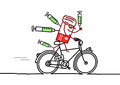 Cyclist doping hand drawn cartoon characters Royalty Free Stock Photos