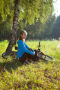 Cyclist enjoying relaxation in spring in the park Royalty Free Stock Photo