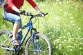Cyclist on grass young a mountain bike and the blue sky in the park Royalty Free Stock Image