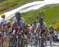The cyclist jean christophe péraud col de pailheres france july french from ag r la mondiale team climbing road to col de Royalty Free Stock Images
