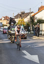 The cyclist jean christophe péraud paris nice prologue in houilles france march rd french from ag r la mondiale team riding Stock Images