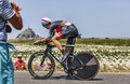 The cyclist jens voigt le pont landais france july german from argos shimano team looking to mont saint michel monastery while Royalty Free Stock Images
