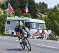 The cyclist jose joaquin rojas gil chorges france july spanish from movistar team pedaling during stage of th edition of le Royalty Free Stock Images