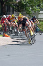 Cyclist leads pack around turn stillwater minnesota usa june chase group at final stage of the north star grand prix in stillwater Stock Photos