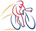 Cyclist logo a of a riding a bicycle on an isolated background Stock Image