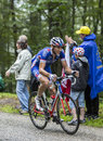 The cyclist matthieu ladagnous climbing col du platzerwasel to de france july of fdj fr team mountain pass in vosges Stock Image