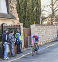 The cyclist michele scarponi paris nice prologue in houill houilles france march rd italian from lampre merida team riding during Stock Photo