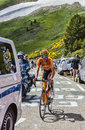 The cyclist mikel astarloza col de pailheres france july basque from euskaltel euskadi team climbing road to col de pailheres Stock Image