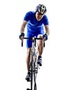 Cyclist one on white background Royalty Free Stock Photo