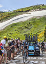 The cyclist peter velits col de pailheres france july slovak from omega pharma quick step team climbing road to col de Stock Photography