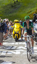 The cyclist pierre rolland col de pailheres france july french from team europcar climbing road to col de pailheres in Stock Photos