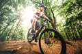 Cyclist with professional protection helmet riding mountain bike on rocky forest trail a Royalty Free Stock Photo