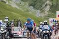 The Cyclist Ramunas Navardauskas on Col du Lautaret - Tour de Fr Royalty Free Stock Photo