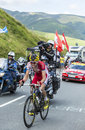 The cyclist rein taaramae on col de peyresourde tour de france july estonian team cofidis climbing road to in pyrenees Stock Images