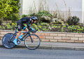 The cyclist richie porte paris nice prologue in houilles france march rd australian from sky procycling team riding during of Royalty Free Stock Photos