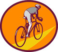 Cyclist Riding Bicycle Cycling Oval Woodcut Royalty Free Stock Photo