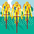 Cyclist riding bicycle cycling retro illustration of a racing front view done in woodcut style Royalty Free Stock Image