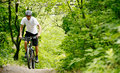 Cyclist riding the bike on the trail in the forest beautiful summer Stock Photo