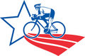 Cyclist riding racing bike star and stripes Royalty Free Stock Photo