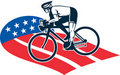 Cyclist riding racing bike star and stripes flag Royalty Free Stock Photo