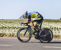 The cyclist roman kreuziger le pont landais france july czech from team saxo tinkoff cycling during stage of edition of le Stock Images