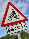 Cyclist safety on the road Royalty Free Stock Photo