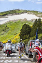The cyclist samuel dumoulin col de pailheres france july french from ag r la mondiale team climbing road to col de pailheres Stock Photos