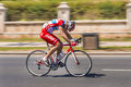 Cyclist sprints on bike race Royalty Free Stock Photo