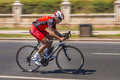 Cyclist sprints on bike race Royalty Free Stock Photo