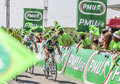 The cyclist thomas voeckler saint aoustrille france july french from team europcar passing finish line of intermediate Royalty Free Stock Photo