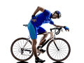Cyclist tired silhouette in on white background Stock Image
