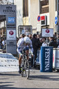 The cyclist veelers tom paris nice prologue in houilles france march rd belgian from argos shimano team taking start of cycling Stock Photo