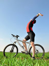 Cycliste de montagne Photo stock