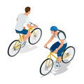 Cyclists on bikes. People riding bikes. Bikers and bicycling. Sport and exercise. Flat 3d vector isometric illustration