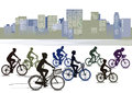 Cyclists biking in the city Royalty Free Stock Photo