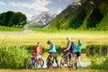 Cyclists biking outdoors Royalty Free Stock Photo