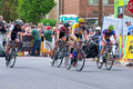 Cyclists chase leader at stillwater criterium race final stage of north star grand prix in Royalty Free Stock Photography
