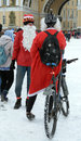 Cyclists in Christmas costumes.