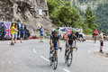Cyclists climbing alpe d huez france july two andrey amador and jonathan castroviejo from movistar team the difficult road to Royalty Free Stock Image