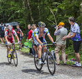 Cyclists climbing col du granier france july th two from movistar team and from katusha team together the road to mountain pass Royalty Free Stock Image