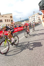Cyclists competing in the giro d italia trieste italy Royalty Free Stock Photo