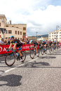 Cyclists competing in the giro d italia trieste italy Royalty Free Stock Photos